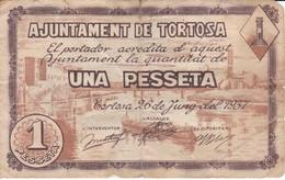BILLETE DE 1 PESETA DEL AJUNTAMENT DE TORTOSA DEL AÑO 1937 CON SELLO SECO (CELO)     (BANKNOTE) - [ 2] 1931-1936 : República