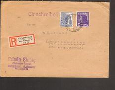 Alli.Bes.6 U.80  Pfg.Arbeiter Auf Einschreibe-Fernbrief Aus Neckarhausen Von 1947 - Gemeinschaftsausgaben
