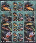 Romania, 2012, Aquarium Fish, 4 Pairs With Labels, 8 Stamps - 1948-.... Républiques