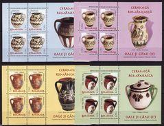 Romania, 2007, Definitives, Pottery, Pots, Art 4 Minisheets - 1948-.... Repúblicas