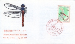 Japan 1977 FDC Nature Preservation Insect Dragonfly Boninthemis Insularis - Insects