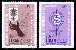 Lebanon, 1962, Fight Against Malaria, WHO, World Health Organization, United Nations, MNH, Michel 784-785 - Lebanon