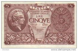 ITALY  P. 31c 5 L 1944 UNC - [ 1] …-1946 : Kingdom