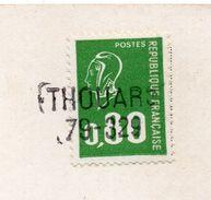"""Griffe Horizontale THOUARS--79329 Sur Marianne De Béquet 0.80 Vert Le Tout Sur Carte Postale""""Bourine Vendéenne"""" - Marcophilie (Lettres)"""