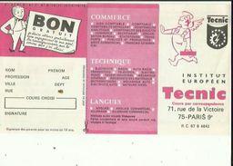 Document  De TECNIC  _Institut Europeen-Cours Par Correspondance A PARIS 75 ( Avec Calendrier 1967 ) Voir Scan - France