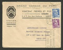NIEVRE / Concession CITROEN - Garage DU PARC - VINCENT à NEVERS / Enveloppe 1952 - Marcophilie (Lettres)