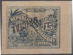 PARAGUAY - 1886 15c Train Official - INVERTED Overprint Plus Reverse Also INVERTED. Scott O6. Mint No Gum - Paraguay