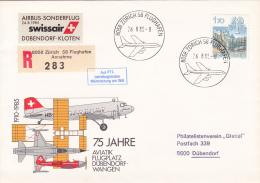 "No 686 Sur Lettre  Recommandée "" Airbus-Sonderflug Swissair D¨bendorf-Kloten"" - 75 Jahre Aviatik Flugplatz - Autres Documents"