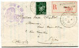 COTE D OR De FONTAINE FRANCAISE LAC. Recommandée Du 03/09/1943 - Marcophilie (Lettres)