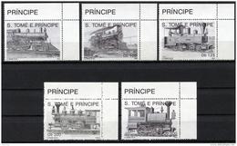 Sao Tome E Principe, 1992, Locomotives, Trains, Railroads, MNH, Michel 1374-1378 - Sao Tome En Principe