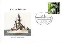 """(ZM) BRD Sonderumschlag Bundeswehr Marine """"Kieler Woche - Zerstörer MÖLDERS"""" EF Mi 2175 SSt 17.6.2001 KIEL 41 - Schiffe"""