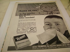 ANCIENNE PUBLICITE RHUME EN VUE MOUCHOIR PAPIER TEMPO 1961 - Publicité