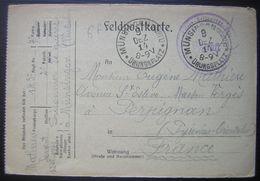 1914 Camp De Prisonniers De Münsingen (Ubungsplatz) Kriegsgefangenen Lettre De Mathieu Just Pour Perpignan - WW I