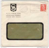 LEVALLOIS PERRET Seine Flier 'par L'armée..' (LEV108) 1953 Marianne Gandon 12f Orange (883) Tarif Facture - Maschinenstempel (Werbestempel)
