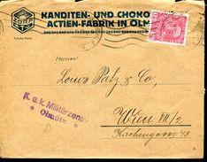AUSTRIA CZECH OLMÜTZ WWI CENSORED COVER ZORA CHOCOLATE FACTORY - Czech Republic