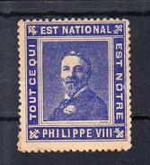 FRANCE 1909. PHILIPPE VIII. TOUT CE QUI EST NATIONAL EST NOTRE. VIGNETTE. NEUVE AVEC GOMME . CECI 2 Nº 39 - France