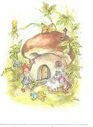 Illustrator - Lore Hummel  - Gnom, Gnome,lutin, Zwerg, Toadstool House, Funghi, Champignon, Mouse Doing Laundry - Altre Illustrazioni