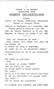 Priester, Abbé, Robert De Caestecker, Poelkapelle,Noyon,Salency,Béhéricourt,Morlincourt,Baboeuf,Varesnes - Religion &  Esoterik