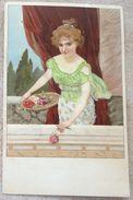 Litho Illustrateur Meissner & Buch 1125 Heitere Gemüter FEMME FILLE Debout Decor Grec Tenant Plateau Fleurs Paillettes - Illustrateurs & Photographes