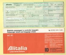 Alitalia Avion Flight Carta D'imbarco 1959 Volo Roma Venezia Roma - Transportation Tickets