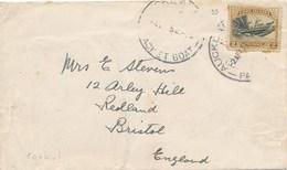 """1945 COOK ISLANDS 2p Obl """" AUCKLAND PACKET BOAT """" Sur Lettre > UK - Maritime Paquebot Nouvelle Zélande Pirogues - Cook"""