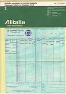 Alitalia Avion Flight Carta D'imbarco Biglietto 1974 Fattura Ciga Hotel Volo Roma Paris Roma - Transportation Tickets