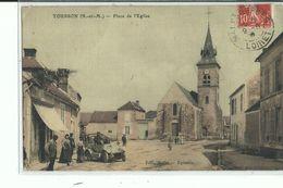 77 TOUSSON  Place De L'eglise , Façade Café , Voiture ,1908 - France