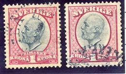 SWEDEN 1900-03 King Oscar 1 Kr. In Both Shades, Used  Michel 49a-b - Sweden