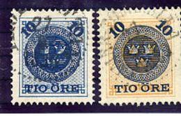 SWEDEN 1889 10 Öre Surcharges, Used  Michel 39-40 - Sweden