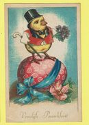 * Pasen - Paques - Easter (Fantaisie - Fantasy) * (P.J. Bruxelles, Nr 205) Poussin, Chicken, Chapeau, Egg, Oeuf, Ei - Pasqua