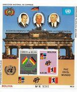1990 Bolivia World Peace Berlin Bush Gorbachev Souvenir Sheet  MNH - Bolivia