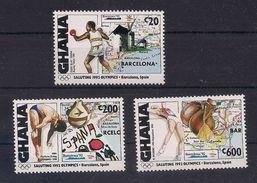 GHANA 1992 - OLYMPICS BARCELONA '92 - YVERT Nº 1313-1315 - MICHEL 1662-66-71 SCOTT 1373-76-79 - Verano 1992: Barcelona