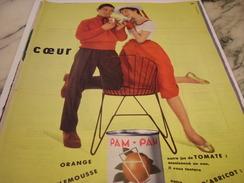 ANCIENNE PUBLICITE JUS DE FRUIT EN BOITE PAM PAM 1957 - Posters