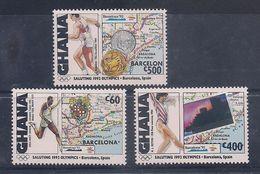 GHANA 1992 - OLYMPICS BARCELONA '92 - YVERT Nº 1366-1368 - MICHEL 1663-69-70 SCOTT 1373A-78A-78B - Verano 1992: Barcelona