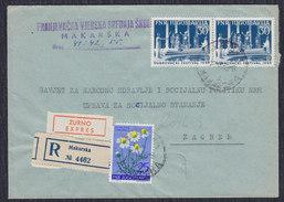 Yugoslavia Croatia 1955 Dubrovnik Summer Festival, Recommended Letter, Express, Makarska - Zagreb - 1945-1992 Socialist Federal Republic Of Yugoslavia