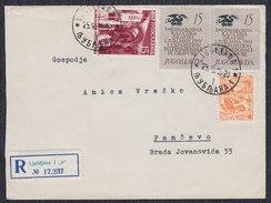 Yugoslavia Slovenia 1955 Graphic Exhibition In Ljubljana, Recommended Letter Sent From Ljubljana To Pancevo - 1945-1992 Socialist Federal Republic Of Yugoslavia