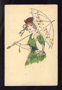Carte Postale Illustree: Femme, Parapluie, Chapeau (113318) - 1900-1949