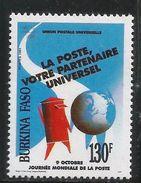 1991 Burkina Faso World Post Day Complete Set Of 1 MNH - Burkina Faso (1984-...)