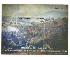 1992 Colombia Revolution Santander Military Souvenir Sheet MNH - Colombia