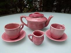 Dinette En Porcelaine Anglaise Rose - Jouets Anciens