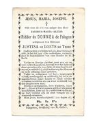 A 4a. Ridder De DONNEA De FOLOGNE Echtg. JUSTINE De LOETS De TRIHE  - + LUIK 1880 (69 J.) - Devotion Images