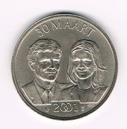 ¨¨ NEDERLAND  HERDENKINGSMUNT  VERLOVING PRINS WILLEM ALEXANDER EN  MAXIMA 30 MAART 2001 - Pièces écrasées (Elongated Coins)
