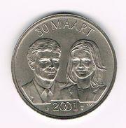 ¨¨ NEDERLAND  HERDENKINGSMUNT  VERLOVING PRINS WILLEM ALEXANDER EN  MAXIMA 30 MAART 2001 - Elongated Coins