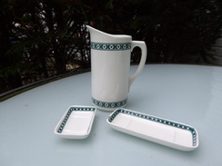 Dinette En Porcelaine Waechtersbach Frise Vert Et Blanc - Jouets Anciens