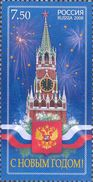 Russia 2008 Happy New Year Holiday Christmas Church Clocks Kremlin Tower Celebrations Flag Stamp MNH Michel 1526 SC 7120 - Clocks