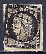 """FR YT 3 """" Cérès 20c. Noir Sur Jaune """" 1849 Grille - 1849-1850 Ceres"""