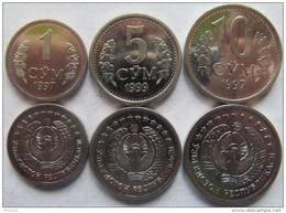 Uzbekistan Set Of 3 Coins 1997-1999 (1+5+10 Som) UNC - Uzbenisktán