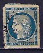 """YT 4 """" Cérès 25c. Bleu """" 1850 Losange - 1849-1850 Cérès"""