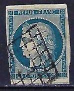 """YT 4 """" Cérès 25c. Bleu """" 1850 Grille - 1849-1850 Ceres"""