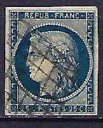"""YT 4 """" Cérès 25c. Bleu """" 1850 Grille - 1849-1850 Cérès"""